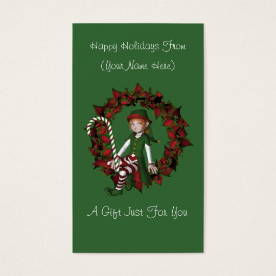 Girl Elf Wreath Christmas Holiday Gift Card Tag
