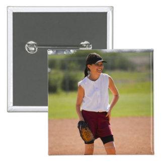 Girl enjoying playing baseball 15 cm square badge