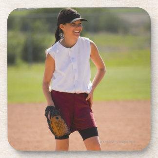 Girl enjoying playing baseball drink coaster