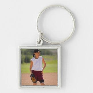 Girl enjoying playing baseball key chain
