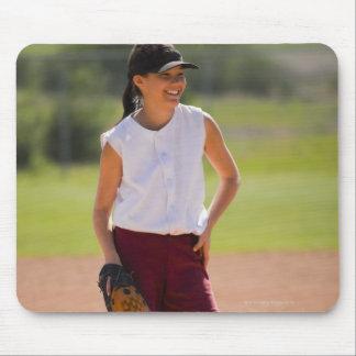 Girl enjoying playing baseball mouse mat