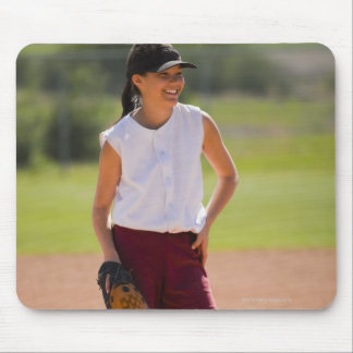 Girl enjoying playing baseball mouse pad