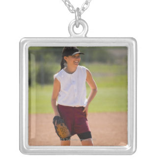 Girl enjoying playing baseball silver plated necklace