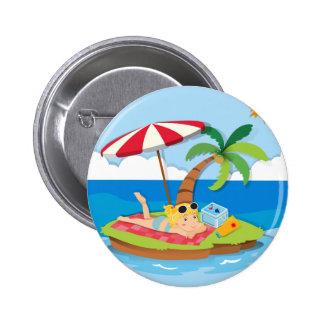 Girl enjoying summer on the island 6 cm round badge