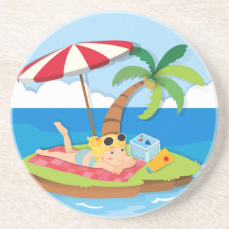 Girl enjoying summer on the island beverage coasters