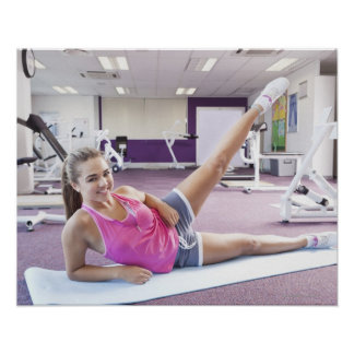 Girl Exercising in Gym Poster