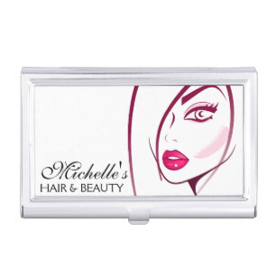Beautician business card holders cases zazzle girl face beautician make up artist business card holder colourmoves