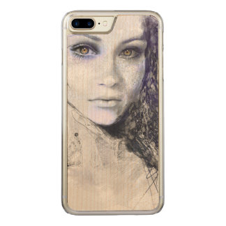 Girl Face Eyes Hair Drawing Carved iPhone 8 Plus/7 Plus Case