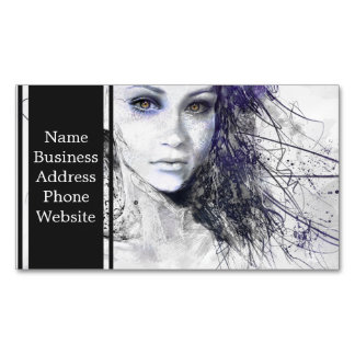 Girl Face Eyes Hair Drawing Magnetic Business Cards