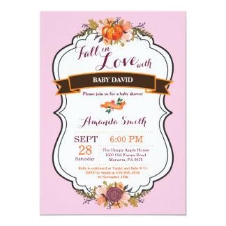 Girl Fall in Love Pumpkin Baby Shower Invitation
