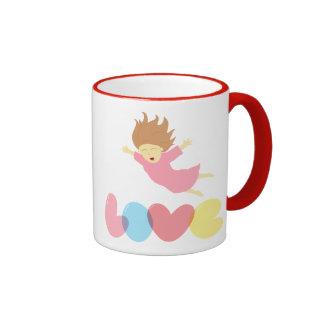 Girl falling happily into Love Ringer Mug