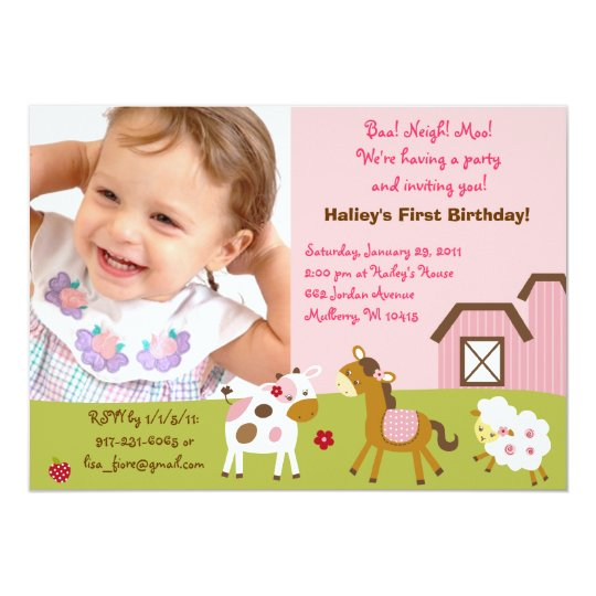 Girl Farm Animal Custom Photo Birthday Invitations