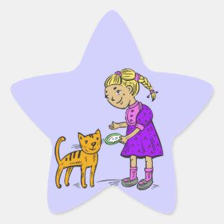 Girl Feeding Cat Sticker
