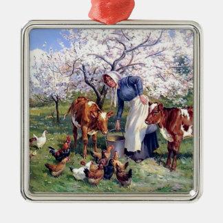 Girl Feeding Farm Animals Painting Christmas Ornaments