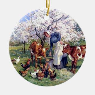 Girl Feeding Farm Animals Painting Round Ceramic Decoration