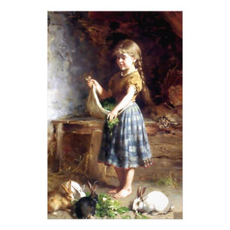 Girl feeding Rabbits Bunnies painting Stationery