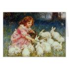 Girl feeding Rabbits Card