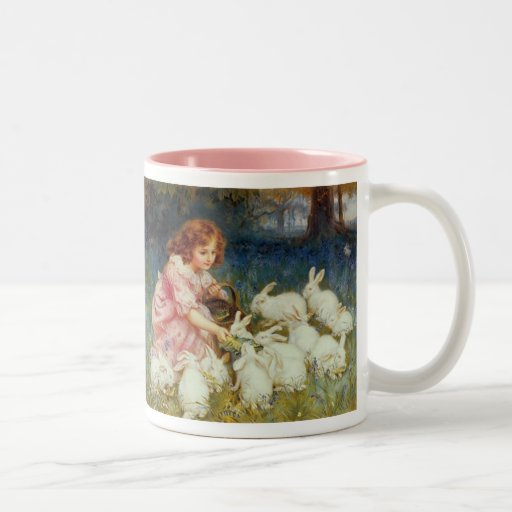 Girl feeding Rabbits Two-Tone Mug