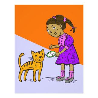 Girl Feeds Cat 21.5 Cm X 28 Cm Flyer