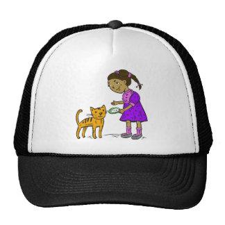 Girl Feeds Cat Trucker Hats