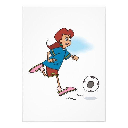girl female playing soccer graphic custom invites