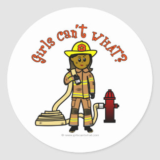 Girl Firefighter Classic Round Sticker