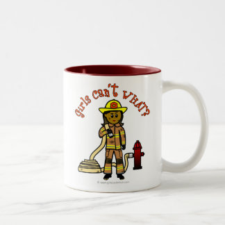 Girl Firefighter Two-Tone Coffee Mug