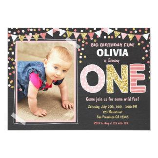 Girl First Birthday Chalkboard Invitation