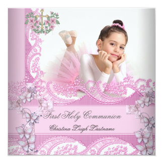 "Girl First Holy Communion Lace Pink Photo 5.25"" Square Invitation Card"