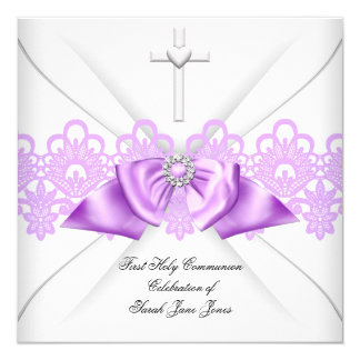 Girl First Holy Communion Lilac Lace Bow White 5.25x5.25 Square Paper Invitation Card