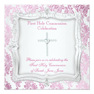 Girl First Holy Communion Pink Silver Cross Invitations