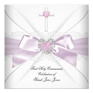Girl First Holy Communion Pink White Heart Order 13 Cm X 13 Cm Square Invitation Card