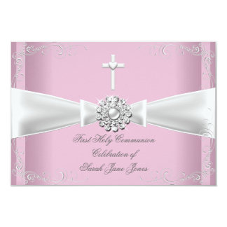 Girl First Holy Communion pink White Silver 9 Cm X 13 Cm Invitation Card