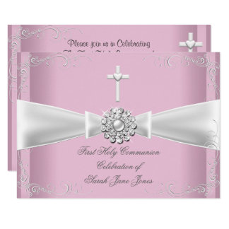 Girl First Holy Communion pink White Silver Card