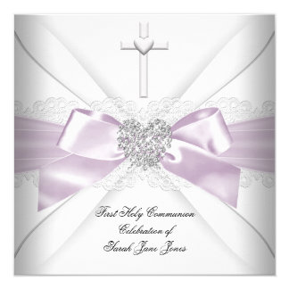 Girl First Holy Communion Pink White Silver Heart 13 Cm X 13 Cm Square Invitation Card