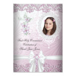 Girl First Holy Communion Pretty Pink Photo 5x7 Paper Invitation Card