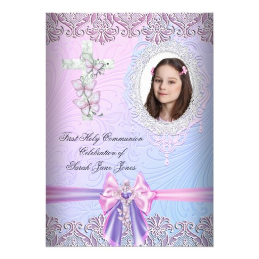 Girl First Holy Communion Pretty Pink Photo Custom Announcement