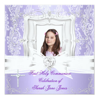 Girl First Holy Communion Pretty Purple Photo Card