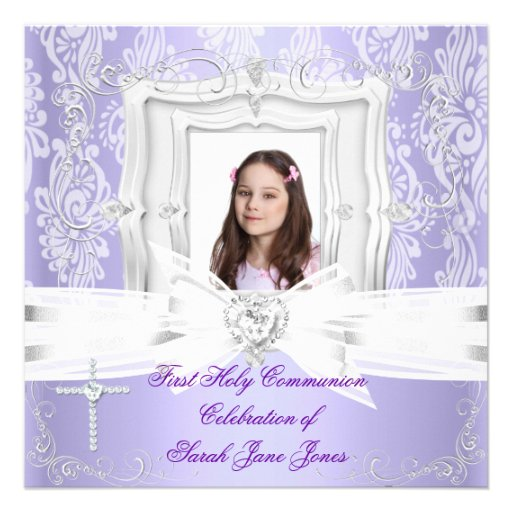 Girl First Holy Communion Pretty Purple Photo Invitations
