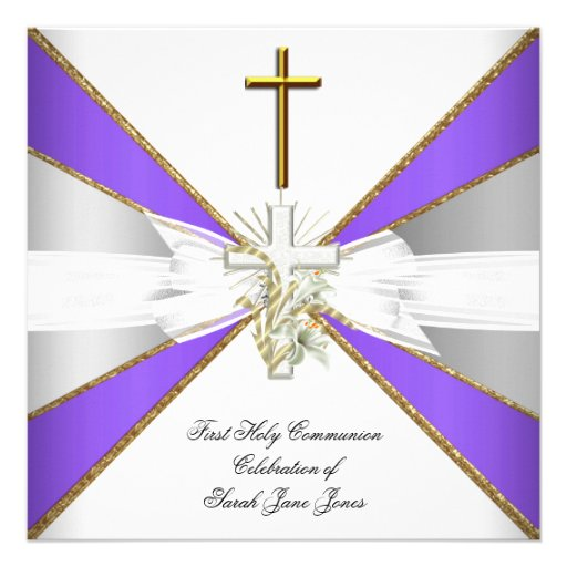 Girl First Holy Communion Purple White Floral Personalized Invitations