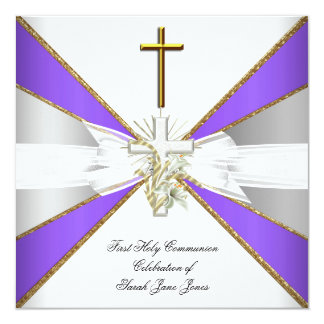 Girl First Holy Communion Purple White Floral 5.25x5.25 Square Paper Invitation Card