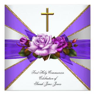 Girl First Holy Communion Purple White Rose 13 Cm X 13 Cm Square Invitation Card