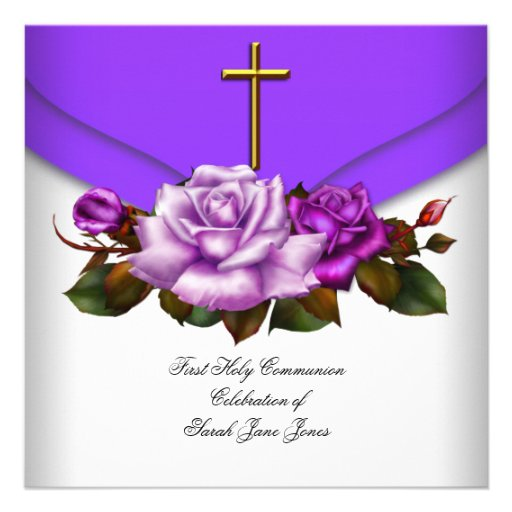 Girl First Holy Communion Purple White Rose 2 Personalized Invitation