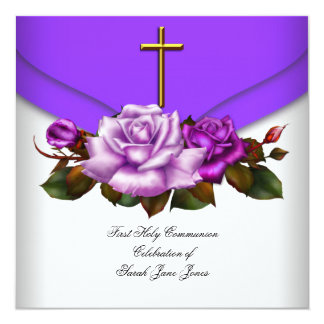 Girl First Holy Communion Purple White Rose 2 5.25x5.25 Square Paper Invitation Card