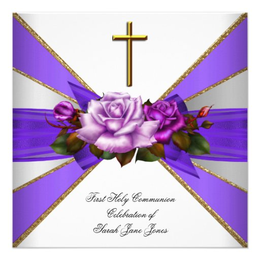 Girl First Holy Communion Purple White Rose Personalized Announcement