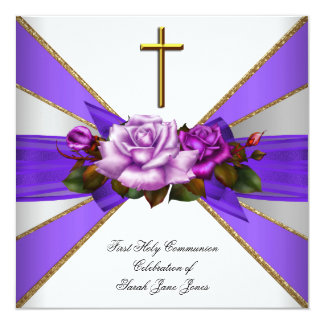 Girl First Holy Communion Purple White Rose 5.25x5.25 Square Paper Invitation Card