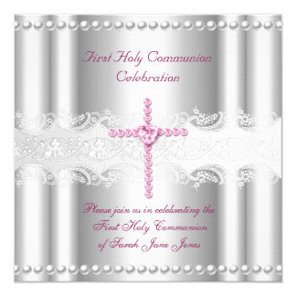 Girl First Holy Communion Silver Lace Pink Pearl 13 Cm X 13 Cm Square Invitation Card