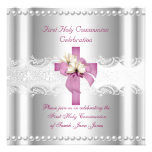 Girl First Holy Communion Silver Lace Pink Pearl Announcements