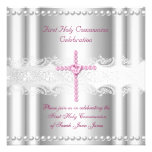 Girl First Holy Communion Silver Lace Pink Pearl Invite