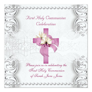 Girl First Holy Communion Silver Lace Pink Pearl Personalized Invites